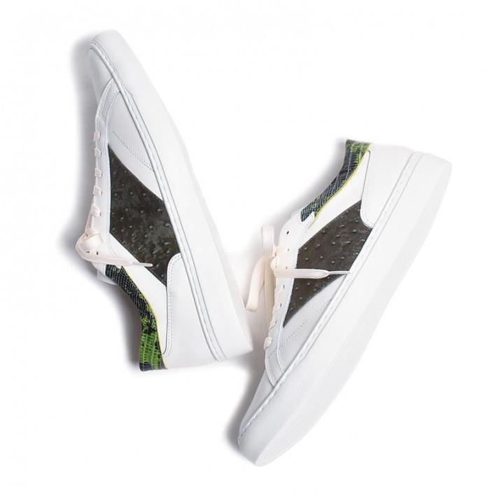 全品最安値に挑戦 レザースニーカー ディムグレー×グリーン 国産天然皮革 本革 革靴 メンズシューズ BajoLugo B1-1-2004-04 高い素材 バジョルゴ