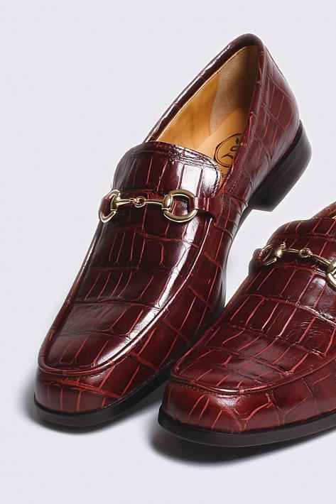 レザービットローファー クロコダイル型押しワイン ゴールドビット 国産 革靴 紳士靴 牛革 BajoLugo バジョルゴ 11-2-3b-br