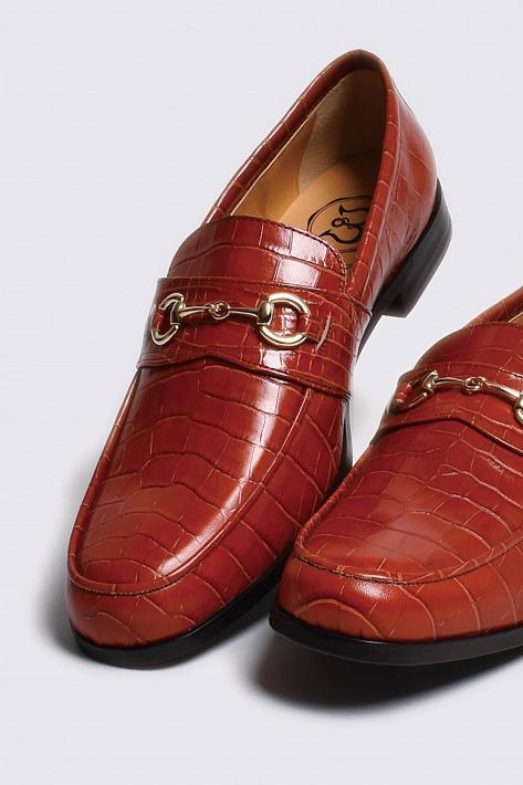 レザービットローファー クロコダイル型押しライトブラウン ゴールドビット 国産 革靴 紳士靴 牛革 BajoLugo バジョルゴ 02-BajoLugo-H1602