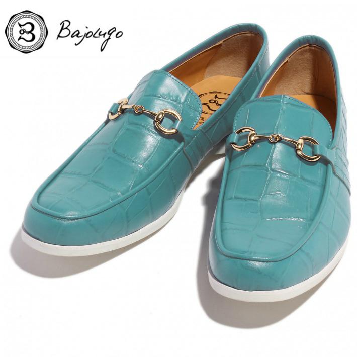 牛革 BajoLugo 国産 紳士靴 レザービットローファー No-2-6-1704-17 バジョルゴ 革靴 ゴールドビット クロコダイル型押しエメラルド