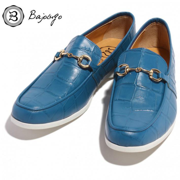 レザービットローファー クロコダイル型押しスカイブルー ゴールドビット 国産 革靴 紳士靴 牛革 BajoLugo バジョルゴ No-2-6-1704-16