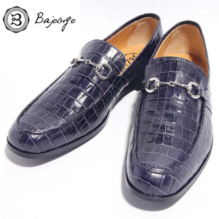 レザービットローファー クロコダイル型押しネイビー 供え シルバービット 国産 革靴 BajoLugo 牛革 バジョルゴ 紳士靴 14-BajoLugo-H1503 驚きの値段で
