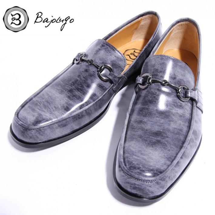 レザービットローファー ムラ染めレザーグレイ ブラックビット 国産天然牛革 革靴 紳士靴 BajoLugo バジョルゴ 01-BajoLugo-H1604