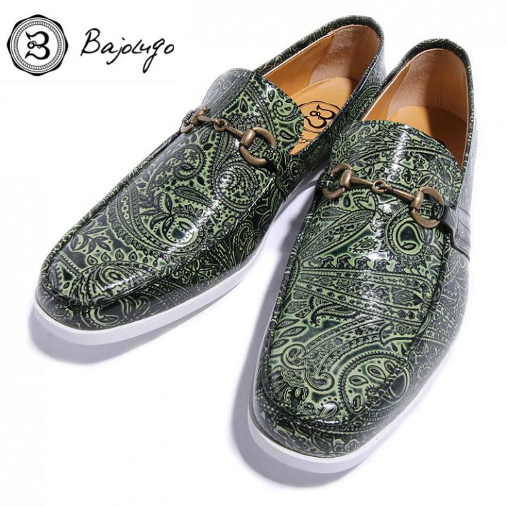 オンラインショップ レザービットローファー ペイズリー型押しグリーン アンティークゴールドビット 国産 革靴 牛革 バジョルゴ BajoLugo 11-BajoLugo-H1506 紳士靴 NEW