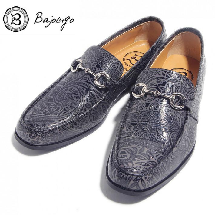 レザービットローファー ペイズリー型押しダークグレイ シルバービット 国産 革靴 紳士靴 BajoLugo 牛革 正規取扱店 02-BajoLugo-H1603 ギフト