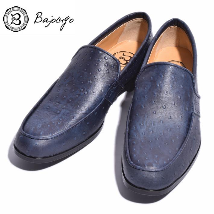 レザーローファー オーストリッチ型押しディープネイビー 国産 革靴 紳士靴 牛革 BajoLugo バジョルゴ No-2-3-1711-01