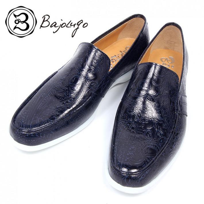 レザーローファー ペイズリー型押しネイビー 国産 革靴 紳士靴 牛革 BajoLugo バジョルゴ a57s