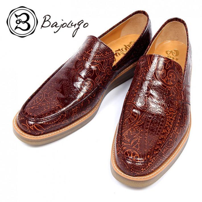レザーローファー 定番キャンバス ペイズリー型押しブラウン オープニング 大放出セール クレープソール 国産 革靴 BajoLugo 紳士靴 a56s バジョルゴ 牛革