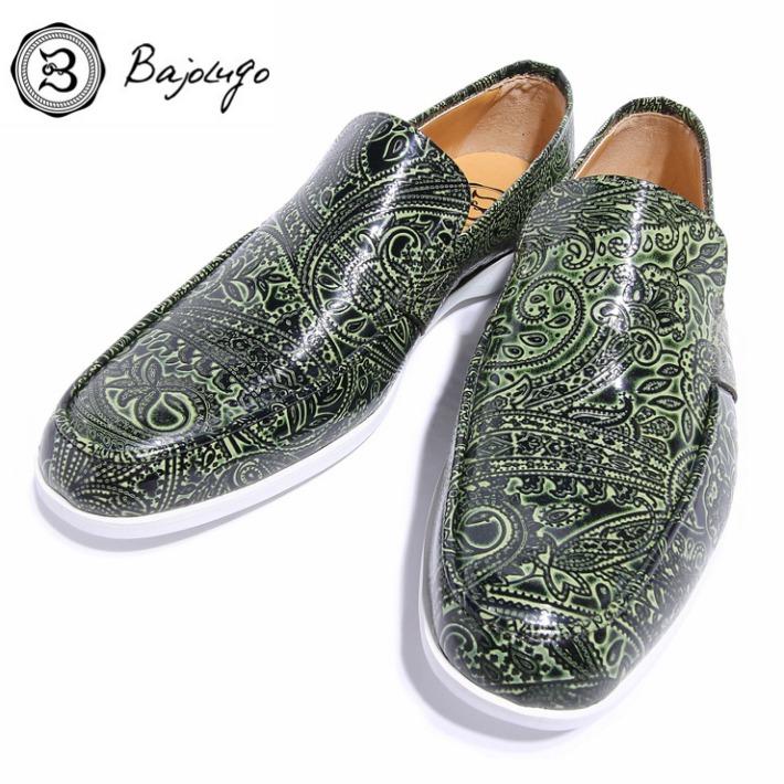 レザーローファー 現品 ペイズリー型押しグリーン 国内正規品 国産 革靴 紳士靴 01-BajoLugo-H1505 バジョルゴ 牛革 BajoLugo