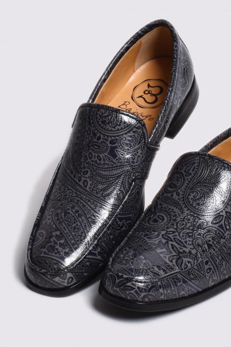 レザーローファー ペイズリー型押しダークグレイ 国産 革靴 紳士靴 安全 バジョルゴ BajoLugo 情熱セール 牛革 a71s