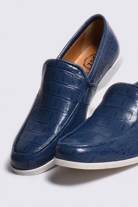 レザーローファー クロコダイル ブルー 国産天然皮革 本革 バジョルゴ 売れ筋ランキング NO-2-3-2003-18 革靴 メンズシューズ 流行 BajoLugo