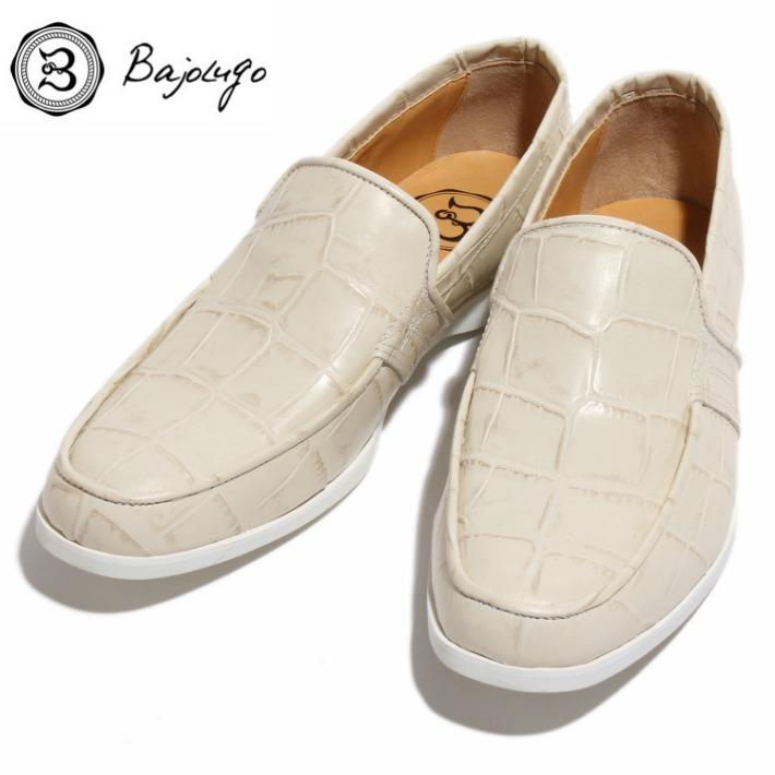 レザーローファー クロコダイル型押しオフホワイト 国産 革靴 紳士靴 牛革 BajoLugo バジョルゴ No-2-3-1704-14