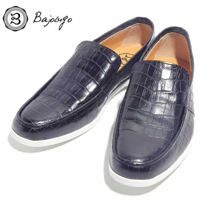 レザーローファー クロコダイル型押しブラック 国産 革靴 紳士靴 牛革 BajoLugo バジョルゴ 20-BajoLugo-H1601