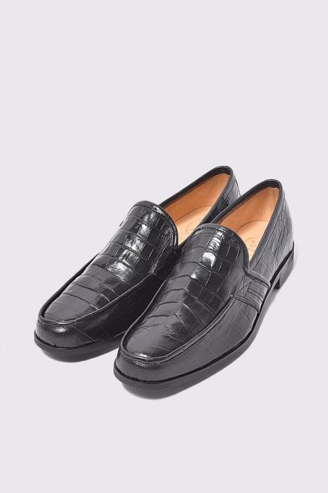 海外限定 返品不可 レザーローファー クロコダイル ブラック 国産天然皮革 本革 NO-2-3-2003-16 革靴 バジョルゴ メンズシューズ BajoLugo