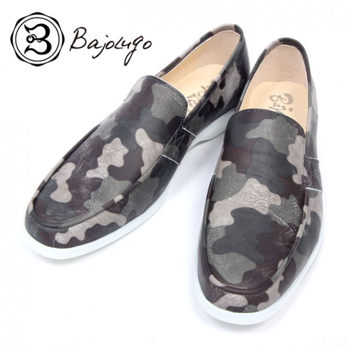 奉呈 レザーローファー カモフラージュカーキ 国産 革靴 紳士靴 a61s バジョルゴ 牛革 BajoLugo 価格交渉OK送料無料