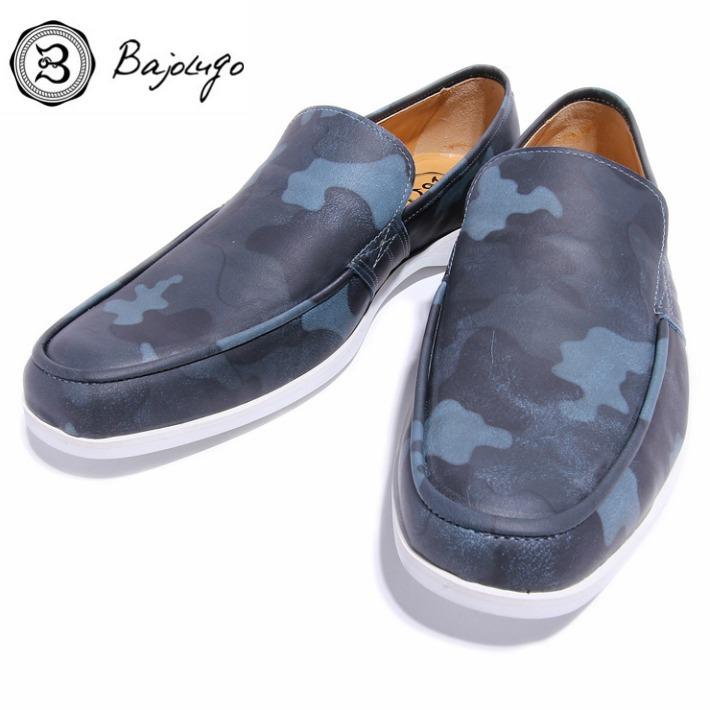 レザーローファー カモフラージュブルー 国産 革靴 紳士靴 牛革 BajoLugo バジョルゴ 06-BajoLugo-H1505