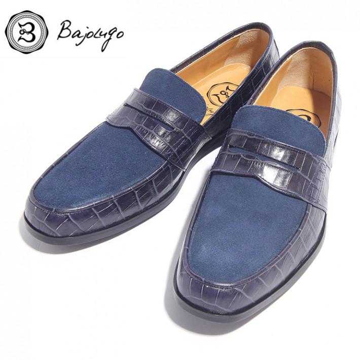 レザーペニーローファー クロコダイル型押しネイビー×ベロアディープブルー 国産 革靴 紳士靴 牛革 BajoLugo バジョルゴ 03-2-3-navb