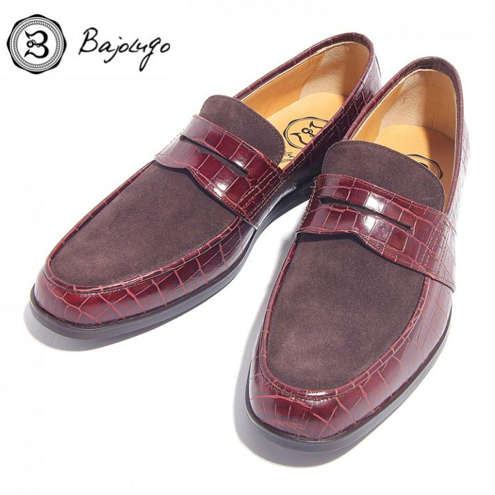 レザーペニーローファー クロコダイル型押しボルドー×ベロアダークブラウン 国産 革靴 紳士靴 牛革 BajoLugo バジョルゴ 02-2-3-borb
