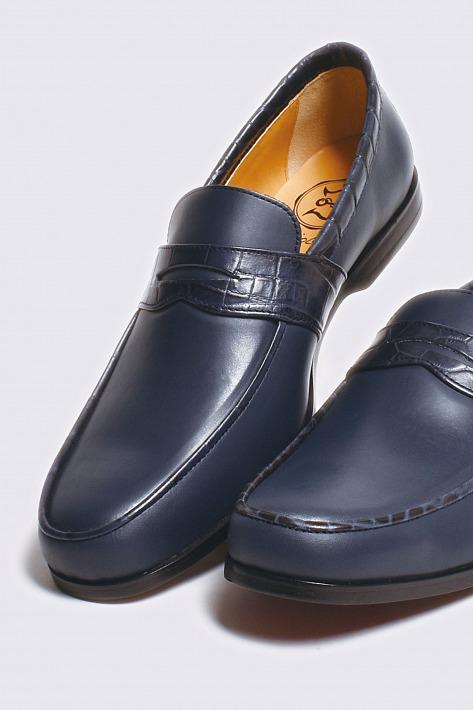 レザーペニーローファー スムース×クロコダイル ネイビー 国産天然皮革 売買 本革 使い勝手の良い 01-BajoLugo-H1512 バジョルゴ メンズシューズ BajoLugo 革靴