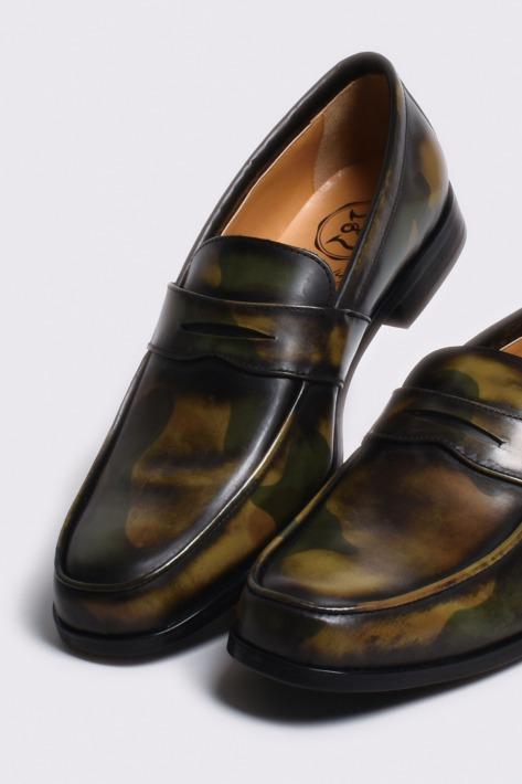 レザーペニーローファー カモフラージュアンティーク仕上げ 国産 革靴 紳士靴 牛革 BajoLugo バジョルゴ No-2-1-1702-09