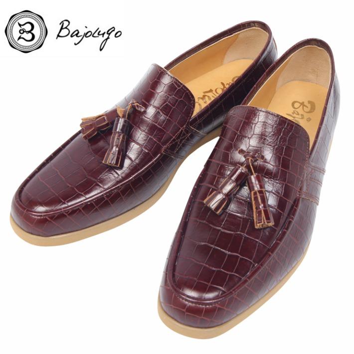 レザータッセルローファー クロコダイル型押しボルドー 国産 革靴 紳士靴 牛革 BajoLugo バジョルゴ a02s