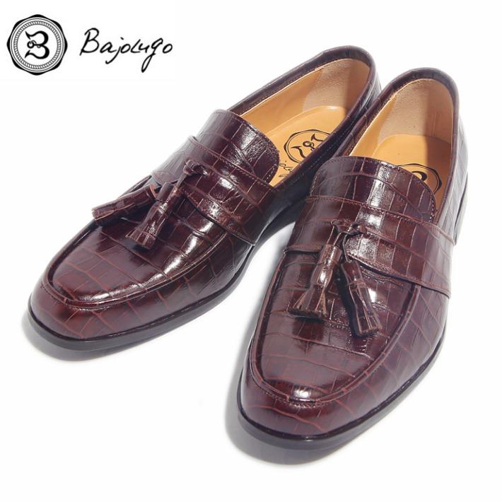 レザータッセルローファー クロコダイル型押しダークブラウン 国産 革靴 紳士靴 04-BajoLugo-H1604 バジョルゴ BajoLugo 牛革 アウトレットセール 特集 セール品