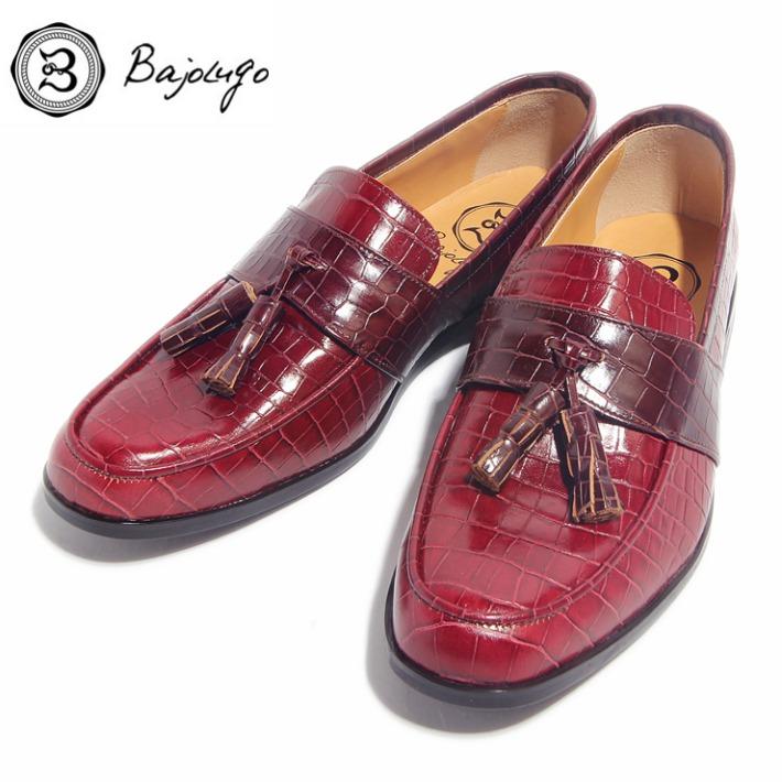 全国どこでも送料無料 レザータッセルローファー クロコダイル型押しワイン×ボルドー 国産 革靴 紳士靴 バジョルゴ BajoLugo 牛革 バーゲンセール 05-BajoLugo-H1604