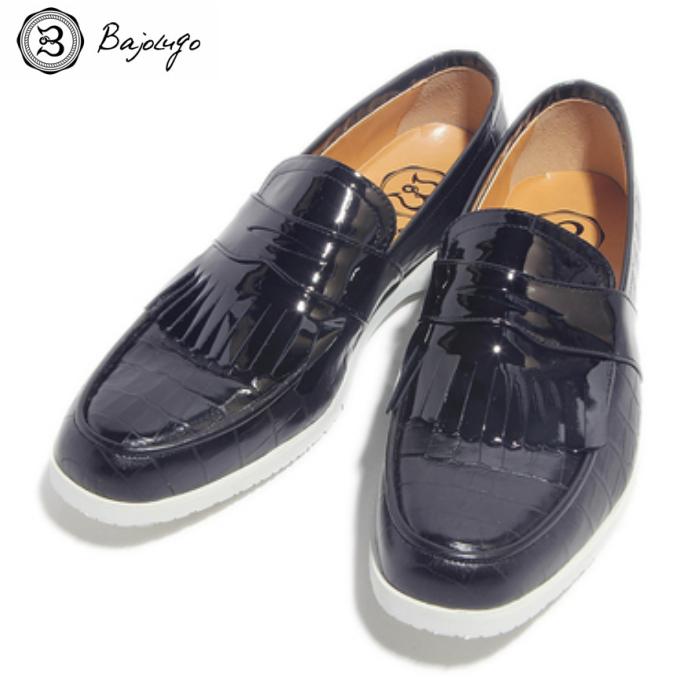 キルティタン レザーローファー クロコダイル ブラック 国産天然皮革 本革 革靴 メンズシューズ BajoLugo バジョルゴ(08-BajoLugo-H1605)