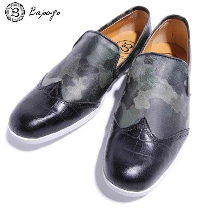 レザーローファー カモフラージュ グリーン 国産天然皮革 本革 革靴 メンズシューズ BajoLugo バジョルゴ(03-BajoLugo-H1506)