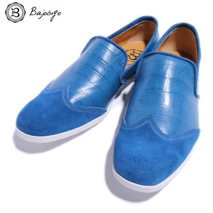 ウィングチップ レザーローファー クロコダイル スカイブルー 国産天然皮革 本革 革靴 メンズシューズ BajoLugo バジョルゴ(06-BajoLugo-H1506)