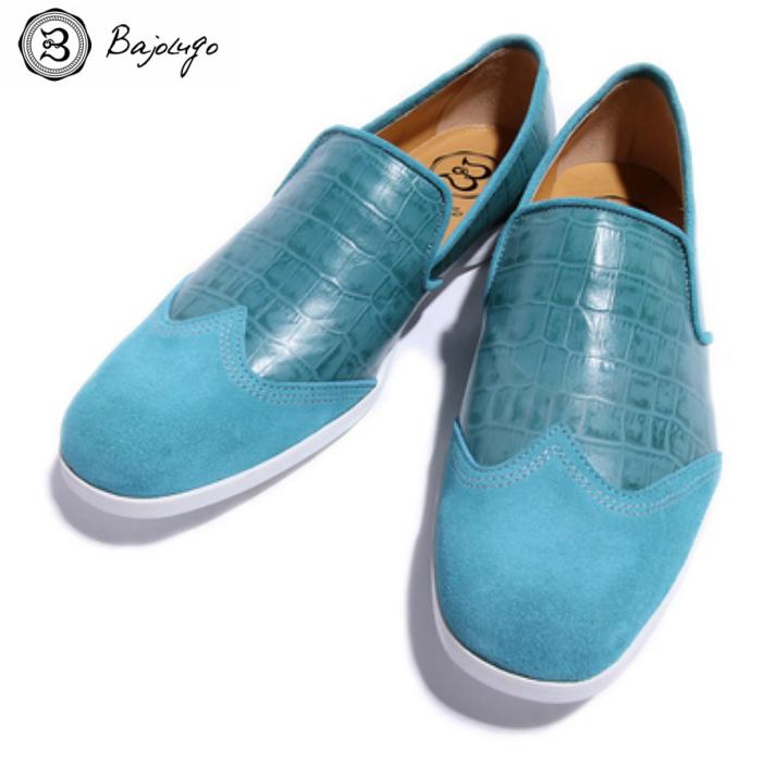 ウィングチップ レザーローファー クロコダイル エメラルドグリーン 国産天然皮革 本革 革靴 メンズシューズ BajoLugo バジョルゴ(05-BajoLugo-H1506)