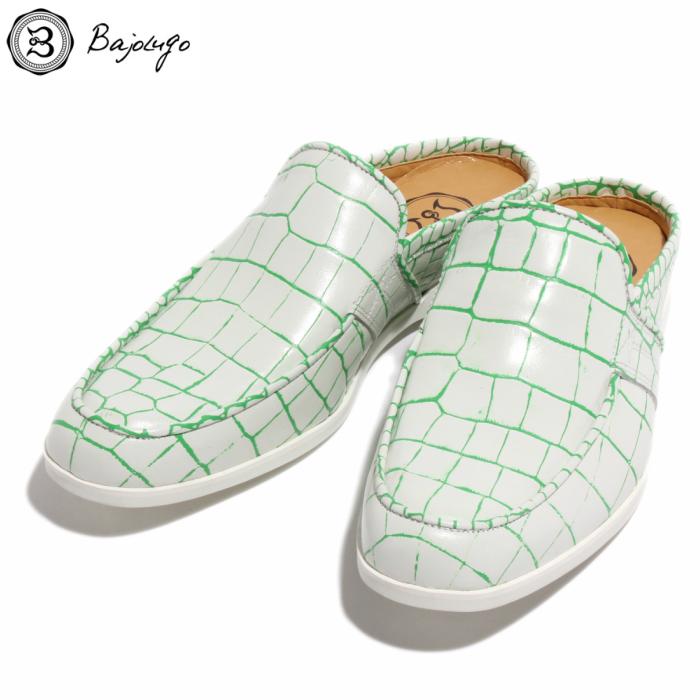 【HEROES6月号掲載アイテム】レザーサンダル クロコ型押しホワイト ラインキウイ 国産 革靴 紳士靴 牛革 BajoLugo バジョルゴ No-2-3S-1706-36