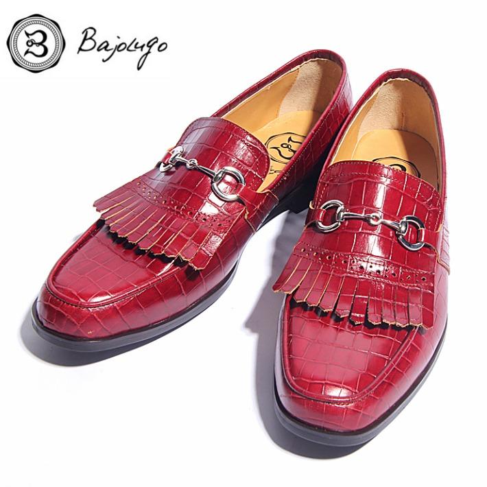 革靴 紳士靴 別注モデル レザービットローファー キルティタン クロコダイル型押しワイン バジョルゴ シルバービット BajoLugo 牛革 01-2-6kt-wi 国産