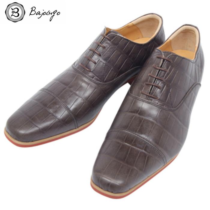 ストレートチップ クロコダイル ダークブラウン 国産天然皮革 本革 BajoLugo a04s バジョルゴ メンズシューズ 革靴 直送商品 爆安
