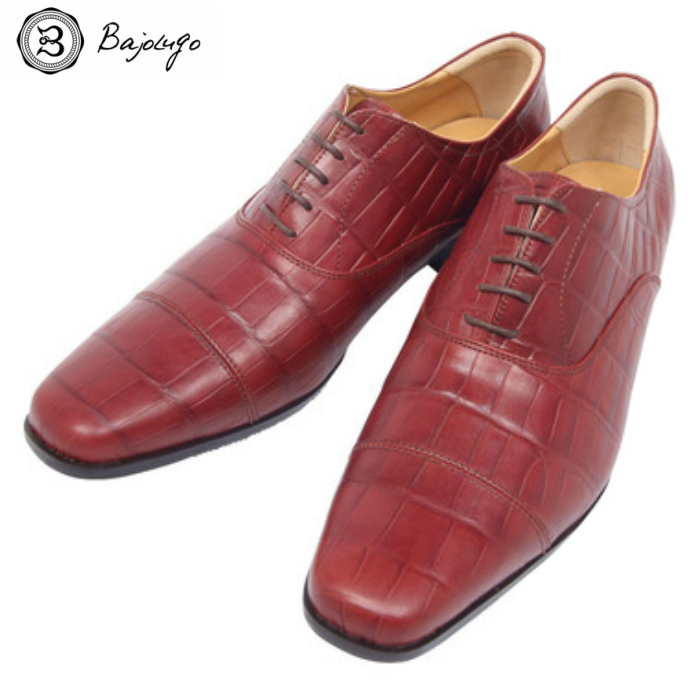 【HEROES1月号掲載アイテム】ストレートチップレザーシューズ クロコダイル型押しワインブラウン 国産 革靴 紳士靴 牛革 BajoLugo バジョルゴ a01s