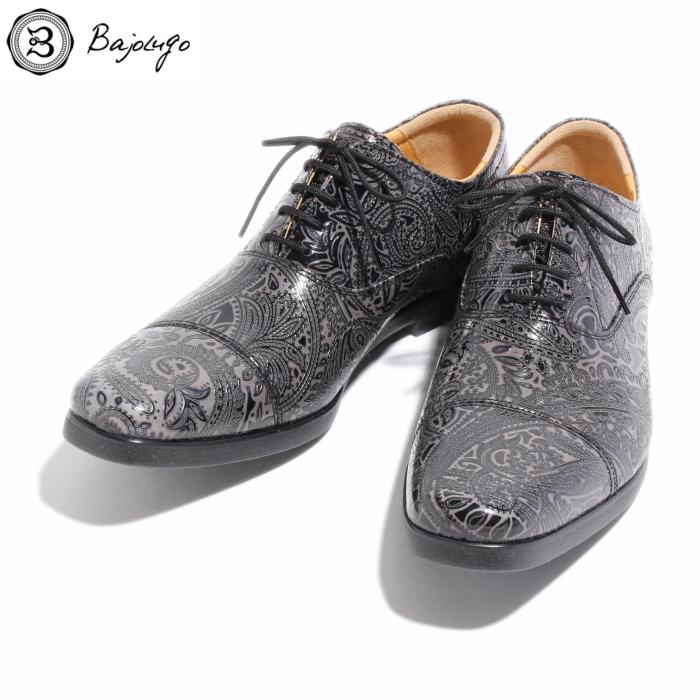ストレートチップレザーシューズ ペイズリー型押しダークグレー 国産 革靴 紳士靴 牛革 BajoLugo バジョルゴ No-1-4-1705-07
