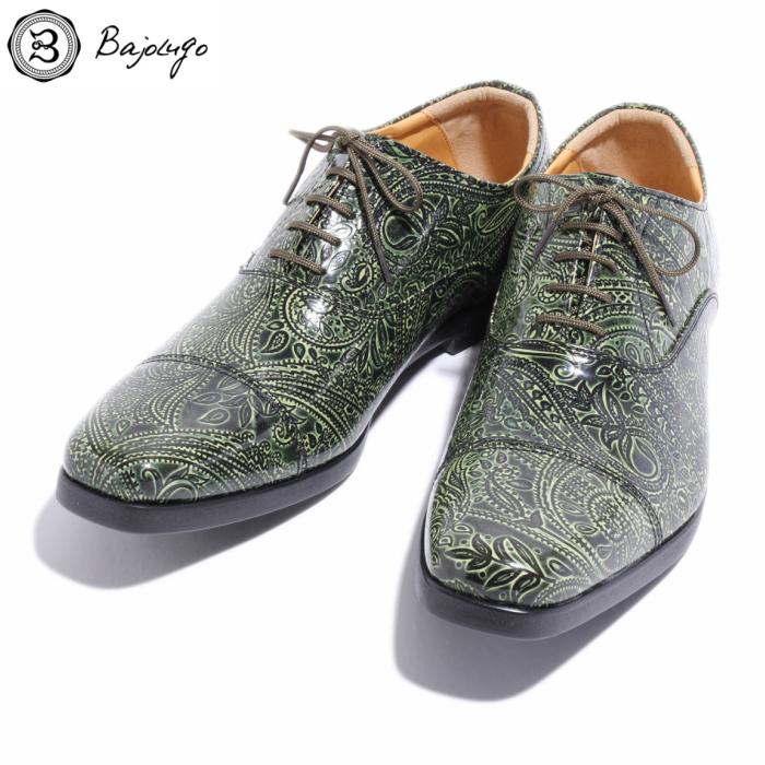 ストレートチップ 送料無料新品 ペイズリー グリーン 国産天然皮革 本革 BajoLugo バジョルゴ No-1-4-1705-08 メンズシューズ ご注文で当日配送 革靴