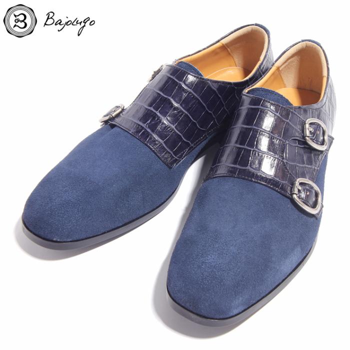 ダブルモンクストラップ ベロア×クロコダイル ディープブルー 国産天然皮革 本革 革靴 メンズシューズ BajoLugo バジョルゴ(06-2-7nav-DMS)