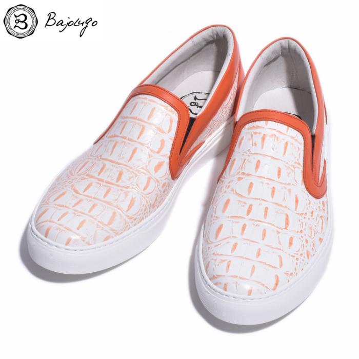 レザースリッポン 背ワニ柄クロコダイル型押しホワイトオレンジ 国産 革靴 紳士靴 牛革 BajoLugo バジョルゴ B1-2-1808-23