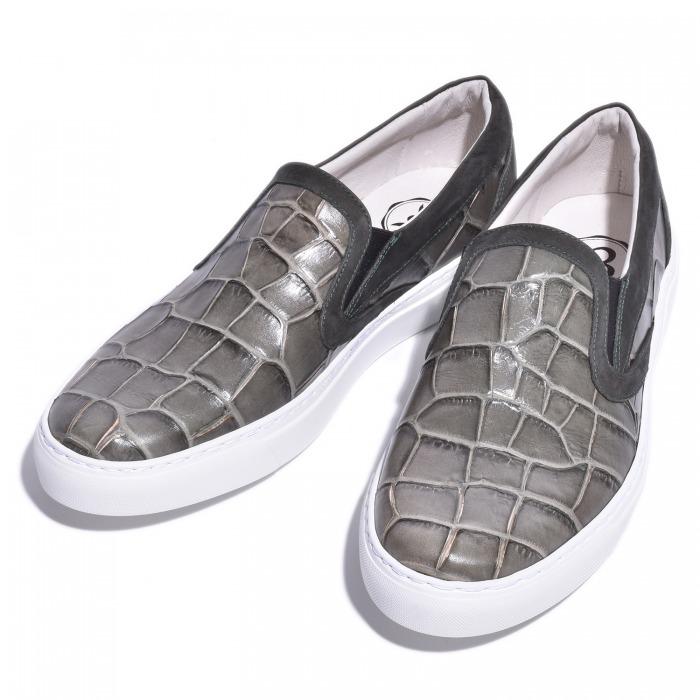 レザースリッポン カットクロコダイル型押しグレー 国産 革靴 紳士靴 牛革 BajoLugo バジョルゴ B1-2-1810-02