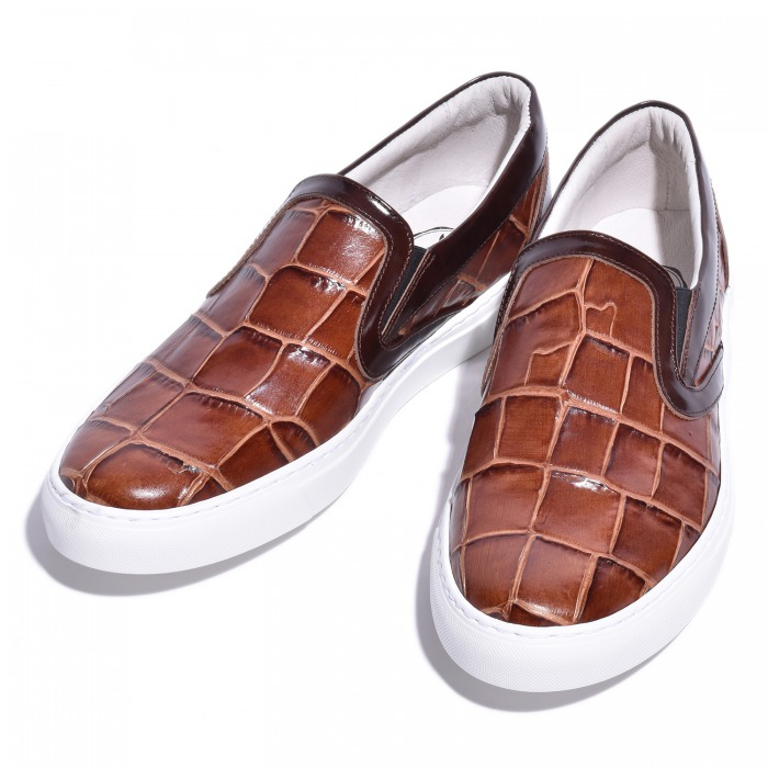 レザースリッポン カットクロコダイル型押しブラウン 国産 革靴 紳士靴 牛革 BajoLugo バジョルゴ B1-2-1810-01