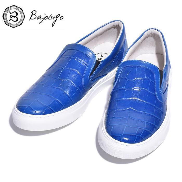 レザースリッポン クロコダイル ブルー 国産天然皮革 本革 バジョルゴ B1-2-1809-02 BajoLugo 新着 NEW ARRIVAL 革靴 メンズシューズ