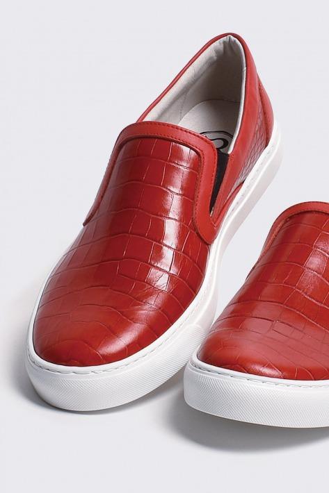 有名な レザースリッポン クロコダイル レッド 国産天然皮革 本革 返品交換不可 メンズシューズ バジョルゴ B1-2-1809-01 革靴 BajoLugo