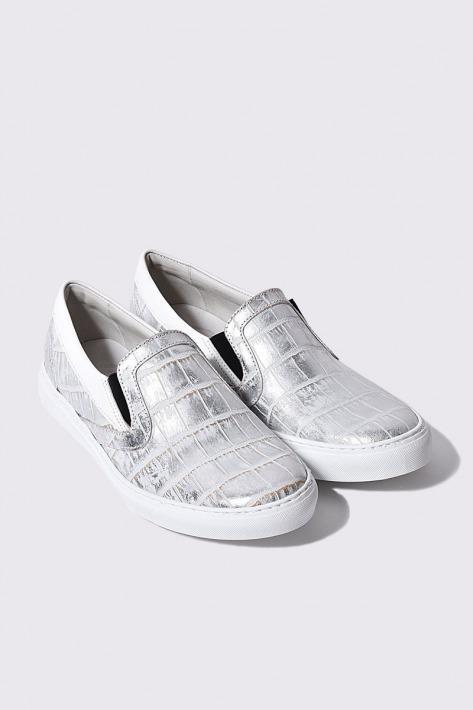レザースリッポン クロコダイル 大幅値下げランキング シルバーホワイト 国産天然皮革 出色 本革 BajoLugo 革靴 メンズシューズ B1-2-2004-11 バジョルゴ
