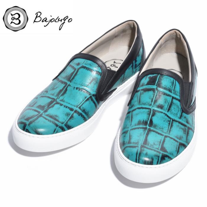 レザースリッポン クロコダイル エメラルドPLUSブラック 国産天然皮革 本革 バジョルゴ B1-2-1807-07 革靴 BajoLugo 格安 価格でご提供いたします メンズシューズ 新着セール