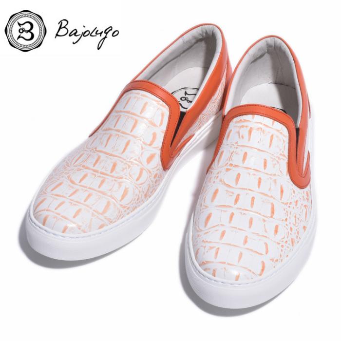 レザースリッポン 背ワニ ホワイト ラインオレンジ 国産天然皮革 本革 公式ショップ BajoLugo バジョルゴ メンズシューズ B1-2-1808-23 革靴 40%OFFの激安セール