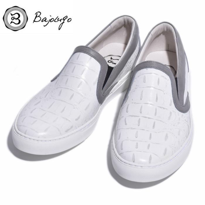 レザースリッポン 背ワニ ホワイト ライングレー 国産天然皮革 本革 BajoLugo 革靴 お買得 B1-2-1808-26 バジョルゴ 買い物 メンズシューズ