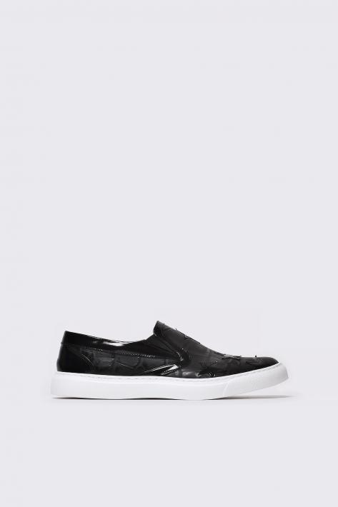 スリッポン クロコ型押しブラック×エナメルブラック 国産 革靴 紳士靴 牛革 BajoLugo バジョルゴ B1-2-1811-03