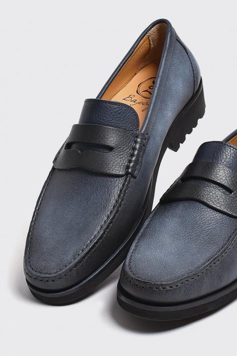 モカシン ナチュラルソフトレザー インディゴブルー 国産天然皮革 本革 紳士靴 メンズシューズ BajoLugo バジョルゴ(IX-4-1907-01)