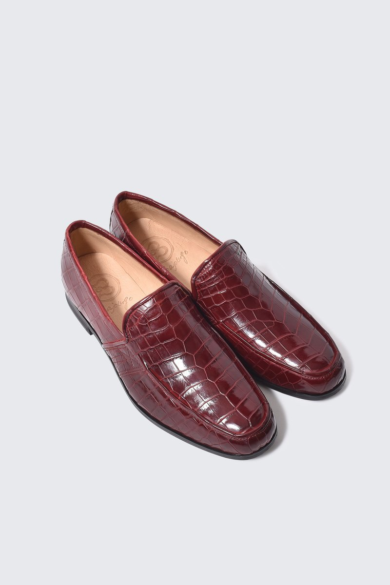 本クロコダイル2匹使い レザーローファー 本クロコダイル ワインブラウン 国産天然皮革 鰐革 メンズシューズ 市販 BajoLugo バジョルゴ 本革 革靴 NO-2-3-2107-10 並行輸入品